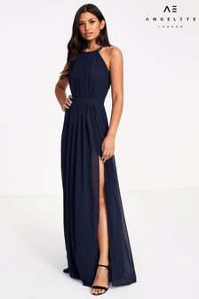 Angeleye Beaded Neck Halter Maxi Dress