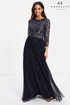 Sukienka maxi z długim rękawem i zdobieniem Angeleye