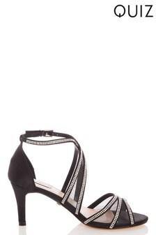 Quiz Satin Diamanté Mesh Low Heel Sandals