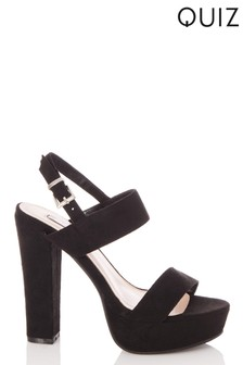 Quiz Faux Suede High Platform Block Heel Sandals