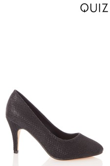 Quiz Shimmer Almond Toe Mid Heel Court Shoes