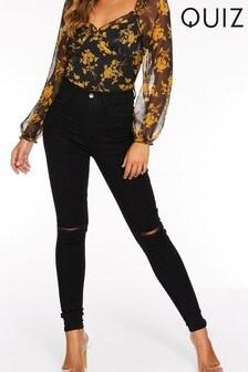 Quiz Denim Skinny High Wasited Knee Rip Jeans