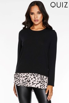 Quiz Light Knit Mixed Animal Print Contrast Hem Top