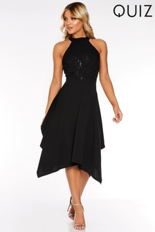 Quiz Sequin Lace High Neck Hanky Hem Dress