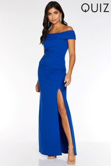 Quiz Bardot Ruched Side Split Maxi Dress