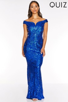 Quiz Sequin Ornate Bardot V Bar Maxi Dress