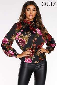 Quiz Floral Print High Neck Peplum Top