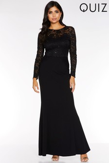 Quiz Lace Long Sleeve Maxi Dress