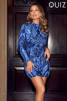 Quiz Royal Sequin Long Sleeve Bodycon Dress
