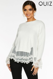 Quiz Knitted Long Sleeve Lace Hem And Cuff Jumper