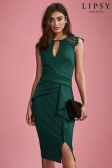 فستان ملفوف دانتيل بكشكشة من Lipsy