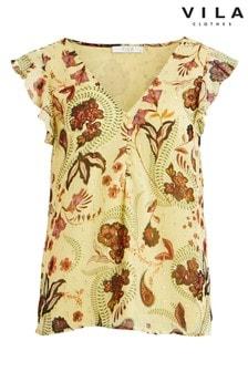Vila Cap Sleeve Printed Blouse