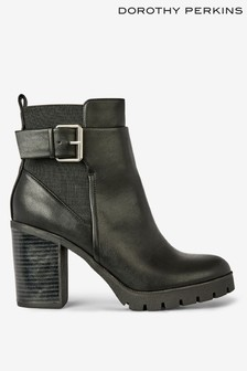 Dorothy Perkins Leather Look Cleated Ankle Boots