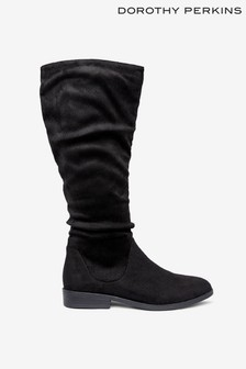 Dorothy Perkins Flat Pull On Ruched Basic Boots