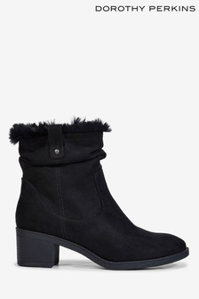 Dorothy Perkins Ruched Fur Lined Ankle Boots
