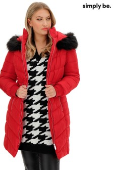 Simply Be Chevron Double Collar Padded Coat