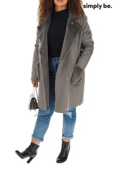 Simply Be Fur Lined Suedette Longline Coat