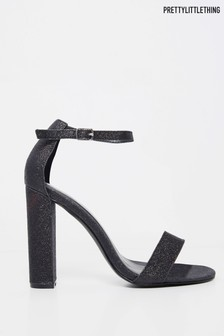 PrettyLittleThing Glitter May Block Heel Sandal