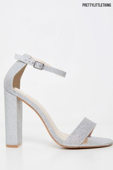 PrettyLittleThing Glitter May Block Heel Sandal