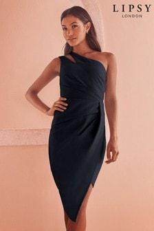 Асимметричное платье миди на одно плечо с плиссировкой Lipsy