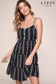 Lipsy Tiered Embroidered Dress
