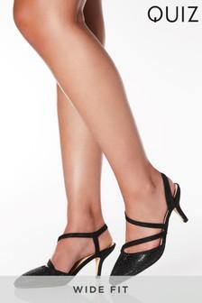 Quiz Wide Fit Diamanté Low Heel Court Shoes