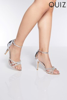 Quiz Mirror Faux Leather Triple Diamanté Vamp Strap High Heel Sandal