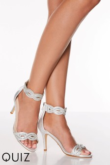 Quiz Shimmer Diamanté Twist Two Part Mid Heel Satin Sandal