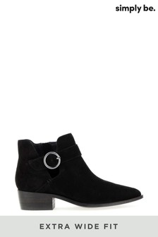 Simply Be Extra Wide Fit Suede Buckle Detail Ankle Boots
