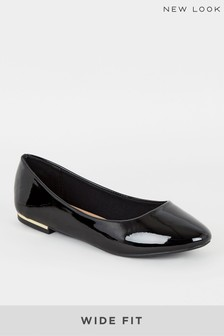 New Look Wide Fit Patent Metal Trim Ballet Pump