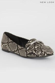 New Look Faux Snake Twist Bar Loafers