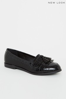 New Look Faux Croc Tassel Loafers
