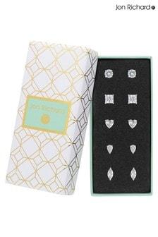 Jon Richard Cubic Zirconia Multi Shape Stud Earring Pack Of 5 - Gift Boxed