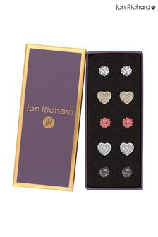 Jon Richard Two Tone Plated Crystal Heart & Pave Ball Earrings Pack Of 5 - Gift Boxed