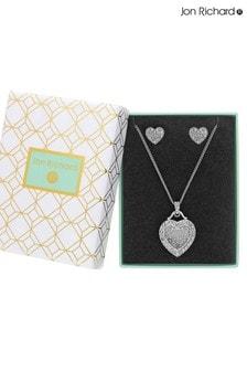 Jon Richard Mother Of Pearl Filigree Heart Necklace & Earring Set - Gift Boxed