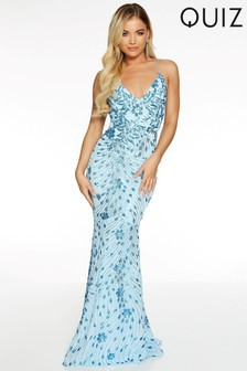Quiz Sequin Mesh Strappy Backless Fishtail Maxi Dress