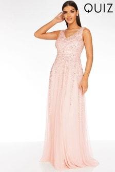 Quiz Embellished V neck Sleeveless Maxi Dress