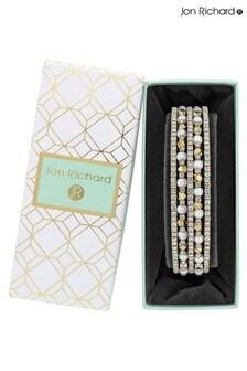 Jon Richard Cream Pearl Crystal Diamante Cuff Bracelet - Gift Boxed