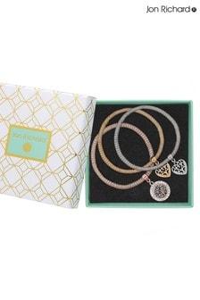 Jon Richard Tri-Tone Plated Crystal Filagree Heart Charm Mesh Bracelets Pack Of 3 - Gift Boxed