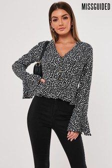 Missguided Abstract Spot Pephem Button Front Blouse
