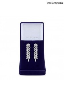 Jon Richard Cubic Zirconia Crystal Navette Leaf Drop Earring - Gift Boxed