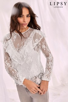 Lipsy Lace High Neck Blouse