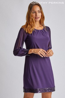 Dorothy Perkins Long Sleeve Sequin Hem And Cuff Shift Dress