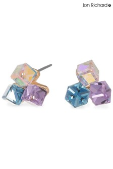 Jon Richard Pink And Blue Crystal Triple Cube Stud Earring Made With Swarovski Crystals
