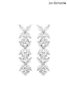 Jon Richard Cubic Zirconia Floral Tennis Drop Earrings