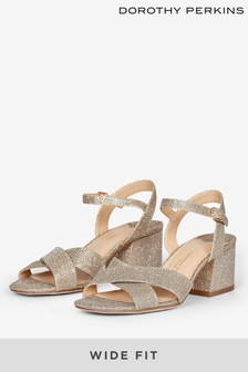 Dorothy Perkins Wide Fit Boom Cross Over Block Heel Sandal