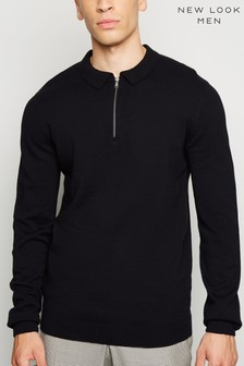 New Look Half Zip Slim Fit Polo Jumper