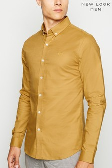 New Look Muscle Fit Embroidered Detail Oxford Shirt