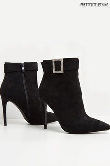 PrettyLittleThing Diamanté Square Buckle Stiletto Ankle Boot