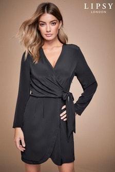 שמלה עם שרוול ארוך וקשר שלLipsy